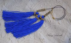 Blue gold necklace Multi tassel necklace Sapphirine necklace by MatthiolaBeads on Etsy