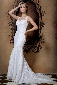 Lace Trumpet/Mermaid V-Neck Bridal Dress sfp0071 - http://www.shopforparty.com/lace-trumpet-mermaid-v-neck-bridal-dress-sfp0071.html - COLOR: Ivory; SILHOUETTE: Trumpet/Mermaid; NECKLINE: V-Neck; EMBELLISHMENTS: Beading , Lace; FABRIC: Lace - 172USD