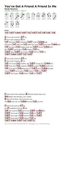 You'be Got a Friend in Me- Randy Newman Ukulele Chords Disney, Guitar Chords For Songs, Guitar Songs, Easy Ukelele Songs, Ukulele Songs Beginner, Gutair Chords, Ukulele Fingerpicking Songs, Randy Newman, Kalimba