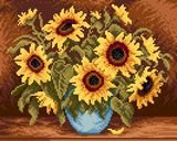 Bouquet of sunflowers cross stitch pattern and color chart free download on htt://coricamo.cz/free_patterns,20,.htm. Many free donloads on this site!  Worth the time to browse.