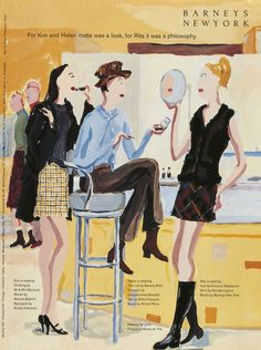 vintage Jean-Philippe-Delhomme Barneys ads- love them so! Collage Drawing, Painting & Drawing, Illustrations And Posters, Fashion Illustrations, New York Poster, Jean Philippe, Advertising Archives, Beauty Ad, I Want To Work