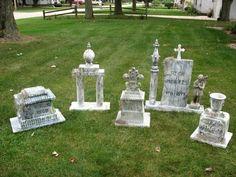 Halloween tombstone ideas diy. I like the styrofoam coolers