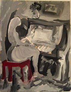 José Bernal - Title	 	Muchacha al piano  	Work Date	 	1942  	Medium	 	mixed media on paper  	Size	 	h: 11 x w: 8.5 in / h: 27.94 x w: 21.59 cm