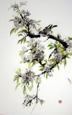Ink Painting on Rice Paper Japanese art by Ella Saridi