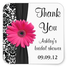 Damask Pink Daisy Wedding Bridal Shower Thank You Square Stickers