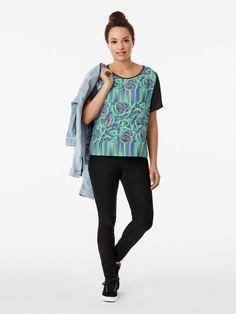 Glitchy Blue Roses Cool & Bold Pattern T-shirt Shirt Shop, T Shirt, Streetwear, Blue Roses, Navy Color, Female Models, Chiffon Tops, Custom Shirts, Shirt Designs