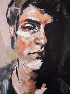 Original Painting, Portrait study 2, In Shadow, Acrylic painting, dark, contrast, male portrait, 11 x 14. $85.00, via Etsy.