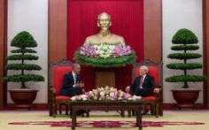 U.S. President Barack Obama meets with Vietnamese Communist party secretary general Nguyen Phu Trong at the Central Office of the Communist Party of Vietnam in Hanoi, Vietnam, Monday