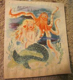 Vintage  Mermaid Valentine Octopus |