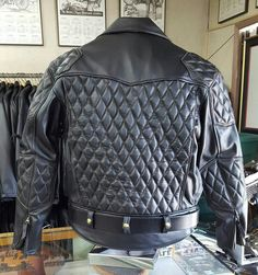 A custom made, hand sewn, 2016, Langlitz, XXL, goatskin motorcycle jacket, with diamond padded shoulders, back, and elbow pads, with contrasting brown thread. Langlitz Leathers, Portland, Oregon, since 1948.