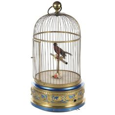 German Mechanical Birdcage Automaton Music Box ($2,400) ❤ liked on Polyvore featuring home, home decor, curiosities, birdcage music box, bird cage home decor and german music box