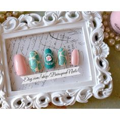 Pastel Fake Nails Pink Teal Press On Any By Baroquennails