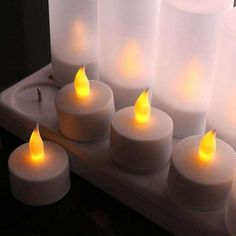 Set of 12 Rechargeable Tea Light LED Candles w Frosted Votive Holders Wedding Bulk Candles, Tea Candles, Flameless Candles, Candle Set, Led Tea Lights, Holiday Lights, Romantic Birthday, Wedding Church, Light Led
