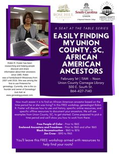 Easily Finding My Union, SC, African American Ancestors to be held at Union County Carnegie Library at 300 E. at to Noon on Feb 2020 African American Genealogy, Free Genealogy, South University, Carnegie Library, Family Search, Helping People, The Fosters, Learning, Ideas