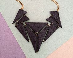 Black Geometric Triangle Statement Leather Necklace Handmade with Gold Look Chain