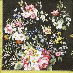 4x mesa única de Papel Fiesta Servilletas Para Decoupage Craft Blooming opulencia Negro
