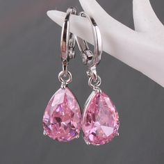 $23  Bestsellerwen Europe & America Fashion 18K White Gold Plated Pendant Dangle Earrings Pink Zircon Fashion Jewelry For Women E009c