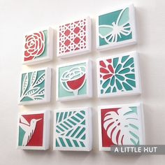 Spring paper quilt collection Cut Paper Art, Exacto Knife, Canvas Crafts, Canvas Art, Diy Wall Art, Diy Art, Papercutting, Cut Out Canvas, Home Crafts