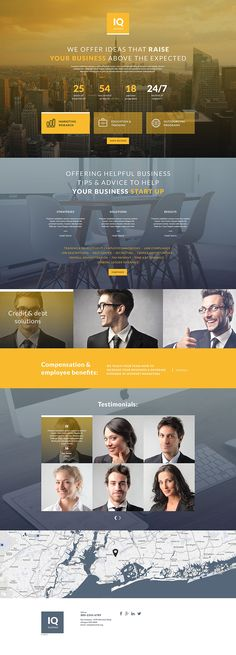 IQ Consulting Modern HTML Landing Page Template - Landing Page - Ideas of Landing Page - Template 55542 Iq Business Responsive Landing Page Template Layout Site, Website Design Layout, Web Layout, Layout Design, Ux Design, Design Elements, Branding Design, Landing Page Inspiration, Website Design Inspiration