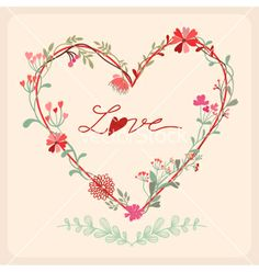 Floral heart card vector - by inkant on VectorStock®