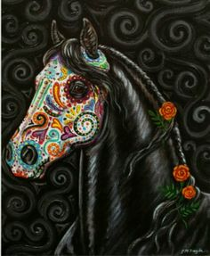 Day of the Dead Horse Art PRINT Sugar Skull by gypsymarestudios Love this! Could be an alternative to a lady sugar skull Tatto Old, Tatoo Art, Sugar Skull Art, Sugar Skulls, Day Of The Dead Art, Mexican Art, Mexican Skulls, Mexican Style, Equine Art