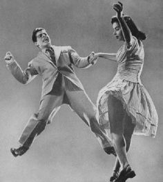 40s photo: balboa swing dancers doing their thing