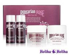 Holika Holika: Bulgarian Rose Skin Care Kit.  I love the Rose Petal Skin as my toner, I bet the other products in this line are equally awesome!