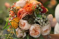 peach juliet cabbage roses, silver brunia, dusty miller, coral peonies, and we also brought in privet berry, peach ranunculus, scabiosa pods, and asclepsia