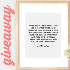 """WIN THIS 11x14 ROBERT FULGHUM QUOTE ART PRINT! Bright and Bonny has teamed up with the blog """"Silex in the City"""" for this giveaway! Check out the blog to enter! silexinthecity.blogspot.com"""