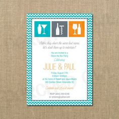 Stock The Bar Couples Shower Invitation by PerchedOwl on Etsy, $12.00