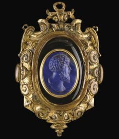 A CARVED OVAL LAPIS LAZULI CAMEO HEAD OF THE EMPEROR MARCUS AURELIUS  16TH OR 17TH CENTURY
