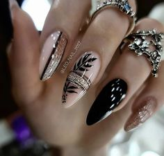Chic Nails, Classy Nails, Stylish Nails, Trendy Nails, Best Acrylic Nails, Acrylic Nail Designs, Nail Art Designs, Black Nail Designs, Perfect Nails