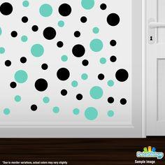 Black / Mint Green Polka Dot Circles Wall Decals