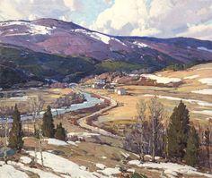 Aldro Thompson Hibbard . March Winds, Vermont . Oil on canvas