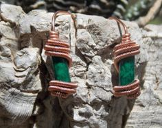 Wire wrapped elegant earrings with green beads - Editar anuncio - Etsy