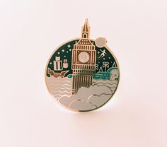 Off To Neverland // Peter Pan & Big Ben Enamel Lapel Pin by Studio Granson | Pin Game