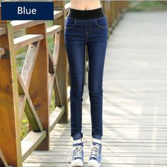 07532021f4129 2016 Autumn Women s high elastic ripped pencil jeans Ladies Vintage Pencil  Slim Skinny Jeans Female korean skinny jean plus size-in Jeans from Women s  ...