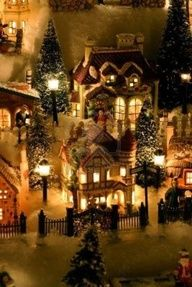 Miniature Christmas Village. #Holiday #Decor.