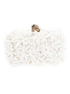 Alexander McQueen lace and skull clutch Bridal Clutch Bag, Clutch Purse, Baroque Wedding, Alexander Mcqueen Clutch, Bridal Handbags, Clutches For Women, Wedding Dress Accessories, Wedding Dresses, Designer Clutch