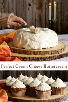 Perfect Cream Cheese Buttercream. Cream Cheese Buttercream is a gorgeous creamy blend of cream cheese and butter, sweetened with confectioners sugar, and flavored with vanilla and a touch of sour cream. #creamcheesebuttercream #creamcheese #frosting #buttercream #cake
