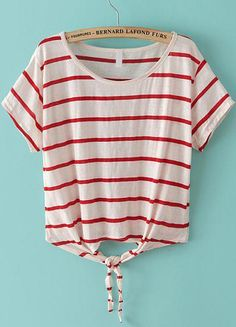 White Red Striped Short Sleeve Crop T-Shirt 11.90
