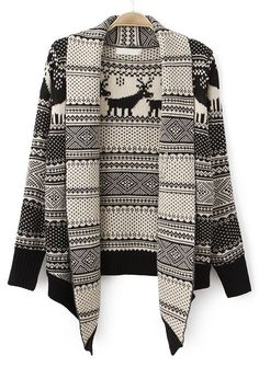 Shop Apricot Black Lapel Long Sleeve Deer Pattern Cardigan online. Sheinside offers Apricot Black Lapel Long Sleeve Deer Pattern Cardigan & more to fit your fashionable needs. Free Shipping Worldwide!