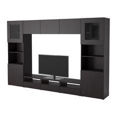 black/brown $466.65 til 1/27/15 for guest room BESTÅ TV storage combination/glass doors - Vara black-brown - IKEA