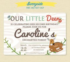 Little Deer Birthday / Woodland / Enchanted Forest Invite - Printable Invitation