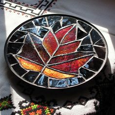 Red Maple Leaf Stained Glass Mosaic Trivet Dish by LivingGlassArt, $40.00