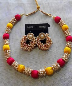and necklace set. Silk Thread Necklace, Thread Jewellery, Ethnic Jewelry, Pink Yellow, Loreal, Necklace Set, Pendants, Pearls, Bracelets