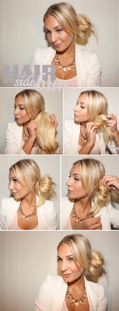 To do this: 1. Fix your hair up in a ponytail or knot on one side where you want the knot. Pull tight so that the string is tight against the head. 2nd Use one to twist and turn the rest of the hair. Just like when you do a messy bun. 3rd The knot will stand out from the head .. Test a few times until you think you've got a neat knot. 4th Hold the knot and secure with bobby pins to the head. Spray possible. with a little hairspray.