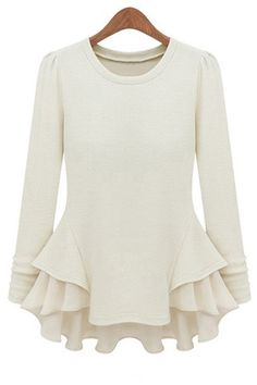 Puff skirt round neck long-sleeved T-shirt_long sleeve T-shirt_T-Shirt_CLOTHING_Voguec Shop