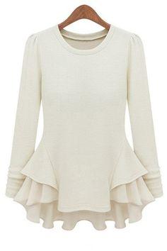 Puff skirt round neck long-sleeved T-shirt_long sleeve T-shirt_T-Shirt_CLOTHING_Voguec Shop