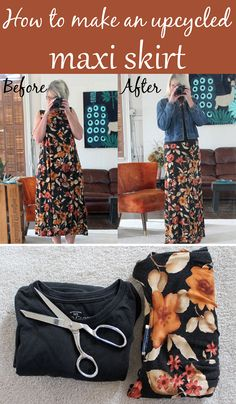 Make a comfy maxi skirt with a yoga-style waistband out of things you already have, like a old dress and t-shirt.  All you need is a long knit thrift store dress, a coordinating thrifted t-shirt, a sharp pair of scissors, a few pins and your trusty sewing machine. http://www.ehow.com/ehow-crafts/blog/how-to-make-a-maxi-skirt-with-a-yoga-style-waistband/?utm_source=pinterest&utm_medium=fanpage&utm_content=blog